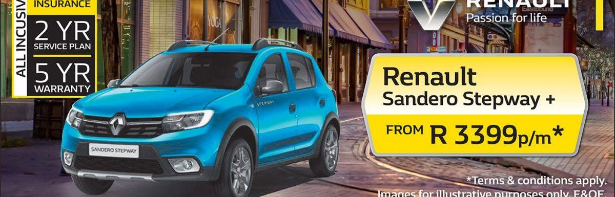 Renault Sandero Stepway + from R3399 per month